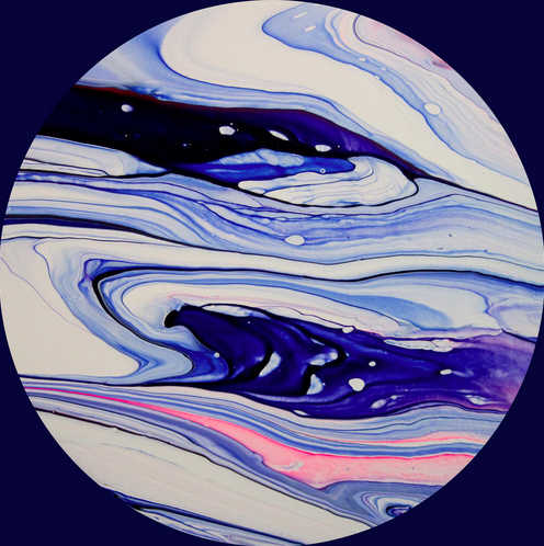 "Gliese 436 b (Ice Planet) Acrylic and latex on canvas 12"" x12"" 2015 Gliese 436 b's main constituent was initially predicted to be hot ice in various exotic high-pressure forms, which remains solid because of the planet's gravity despite the high temperatures."
