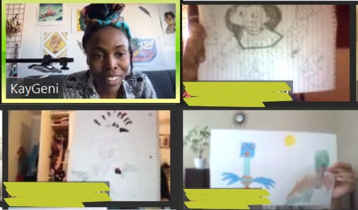 Facilitator KayGeni with three screens on zoom holding up hand drawn images