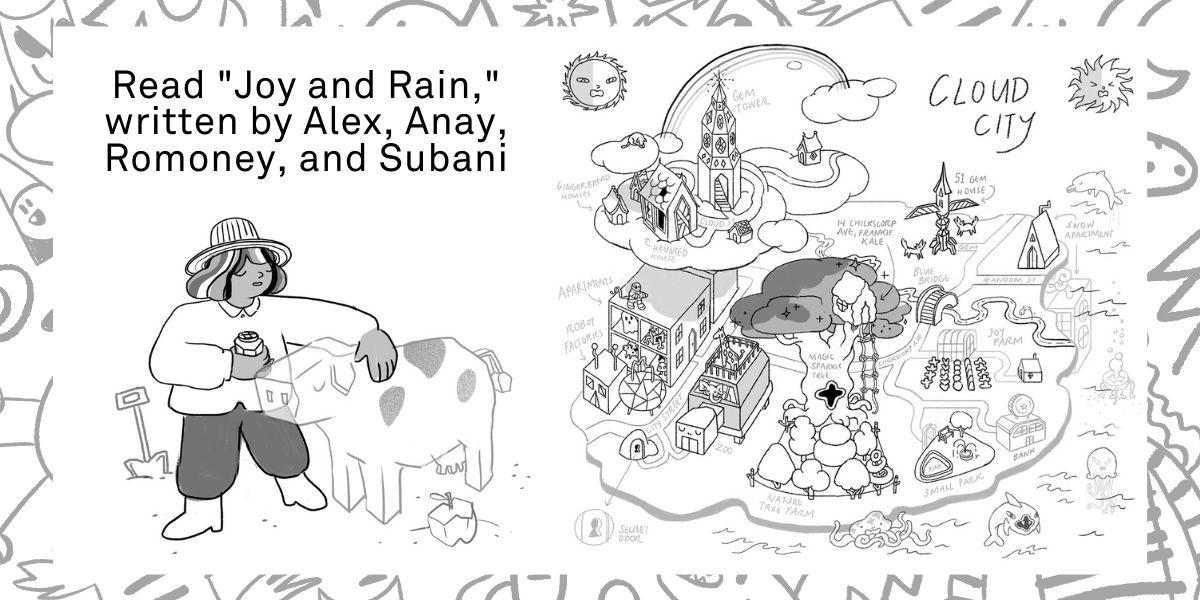 A drawing of the character joy with a jelly cow and a map on Cloud City next to it