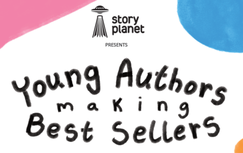 """The Story Planet logo is in the top middle of the page, Text in the middle of the page reads: """"presents Young Authors making Best Sellers."""" There's a pink triangle in the top left corner, and a light blue circle that goes partly off-screen, a small yellow/orange circle is in the bottom right."""