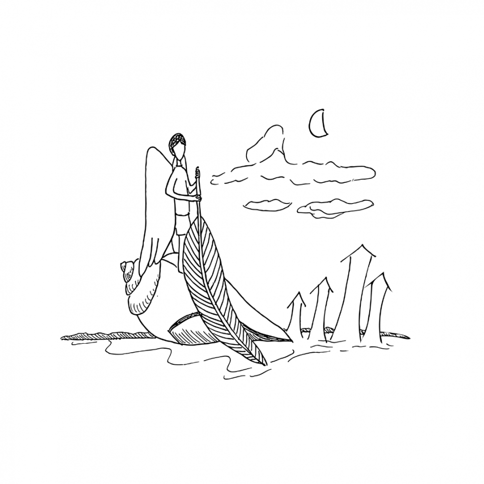 Illustration from 'Down Feathers'. A character is seen standing atop a huge seashell, holding a large feather at its stem. Clouds and a half moon are in the background. The illustration is in black and white.