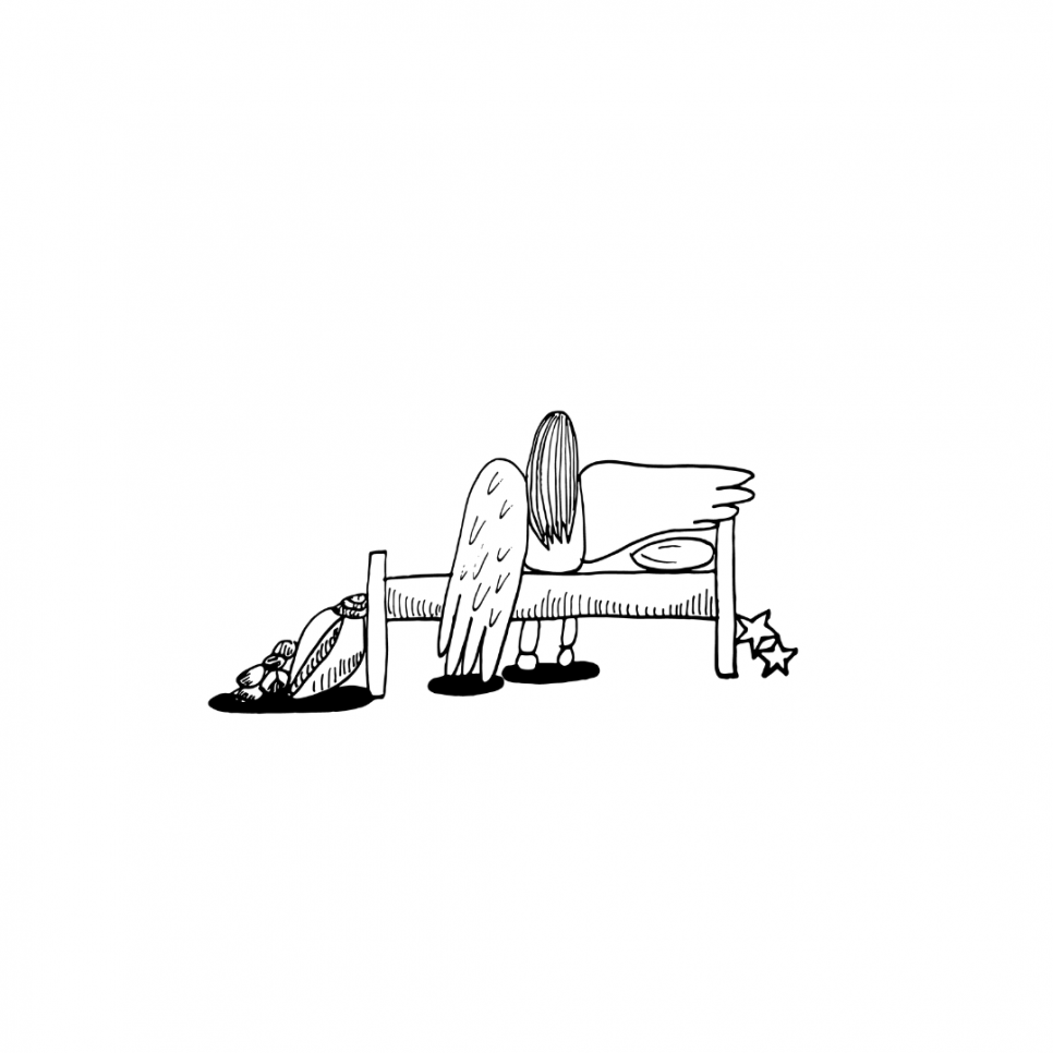 Illustration from 'Down Feathers' Lyra is sitting on her back with her back facing the viewer. One wing is stretched out to her side, plain, and the other falls to the floor, with feather textures. The image is in black and white.